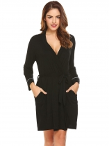 Black Women 3/4 Sleeve Kimono Style Belted Short Robe Sleepwear
