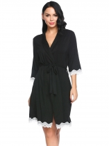 Black Women Shawl Collar 3/4 Sleeve Belted Short Robe Sleepwear