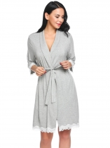 Gray Women Shawl Collar 3/4 Sleeve Belted Short Robe Sleepwear