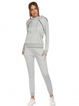 Grey Women Spot Suit Two Piece Long Sleeve Pullover Hoodie Sweatpant Tracksuit Set