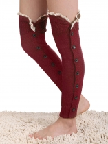 Over Knee High Thigh Leg Warmer Crochet Knit Lace Patchwork Boot Socks