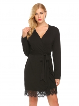 Black Women Lace-trimmed Long Sleeve Sleepwear Robe with Belt