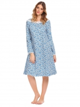 Pattern Irregular Collar Long Sleeve A-Line Ruffle Hem Lace Prints Sleepwear Dress