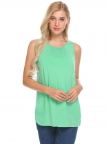 Green Women Sleeveless Comfy Maternity Nursing Shirt Breastfeeding Tank Tops Clothes