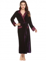Wine red New Women Casual Turn Down Collar Long Sleeve Patchwork Pocket Velvet Robe with Belt