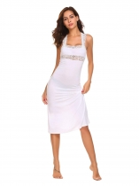 White Square Neck Sleeveless Backless Lace Patchwork Dress