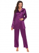 Purple Femmes Solid Tops Lace trimmed Pants V Neck manches longues vêtements de nuit pyjamas ensembles