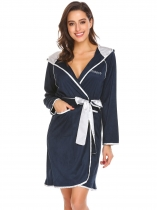 Dark blue Women Casual Hooded Long Sleeve Patchwork Pocket Bathrobe with Belt