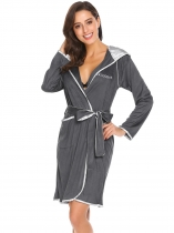 Dark gray Women Casual Hooded Long Sleeve Patchwork Pocket Bathrobe with Belt