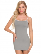 Grey Women Spaghetti Strap Nighties Solid Sleeveless Mini Sleepwear Dress
