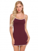 Wine red Women Spaghetti Strap Nighties Solid Sleeveless Mini Sleepwear Dress