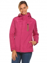 Rose red Women Hooded Neck Long Sleeve Front Zipper Up Solid Jacket Coat With Pocket