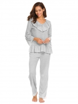 light grey Femmes col V manches longues volants dentelle Patchwork Blouse pantalon long pyjamas ensemble