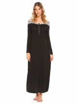 Black Long Sleeve Lace Patchwork Nightgown Nightdress