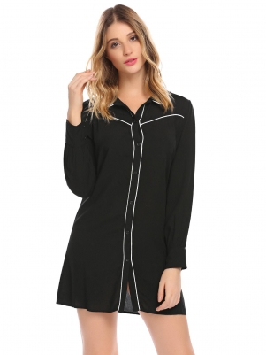 Black Women Patchwork Long Sleeve Button Nighties Mini Sleepwear Shirt Dress 144b0056f
