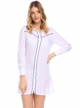White Femmes Patchwork à manches longues Nighties Mini chemise Robe