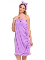 Light purple Women Strapless Fleece Sleepwear Wrap Robe Bathrobe
