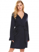 Navy blue Women Long Sleeve Hollow Jacquard Comfort Kimono Spa Bathrobe