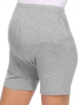 Gray Women Solid Breatheable Soft Elastic Waist Maternity Nursing Shorts