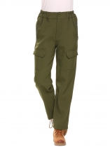 Army green Women Outdoor Climbing Hiking Fleece-Lined Soft Shell Cargo Pants