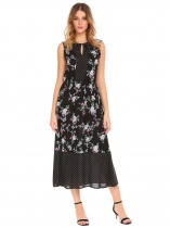 Black V-Neck Sleeveless Floral Long Dress