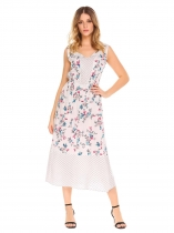 White V-Neck Sleeveless Floral Long Dress