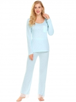 Light blue Women Sleepwear O-Neck Long Sleeve Sleep Shirts Pajamas Set with Pj Pants