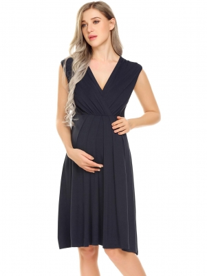 Navy blue Women Nursing Sleeveless V-Neck Solid Elastic Waist Nighties  Sleepwear Dress 0190b4478