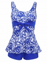 Blue Spaghetti Strap Sleeveless Padded Elastic Patchwork Swimwear