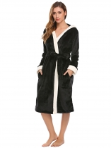 Black Hooded Long Sleeve Soft Plush Bathrobe Sleep Robe