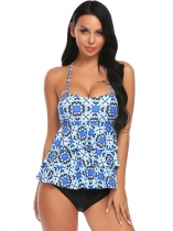 Blue Women Two Pieces Swimsuit Bandeau Padded Printing Tankini Set Swimwear Beach Wear