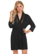 Black Women Casual Lace Trim Loose Waist Strap Sexy Sleepwear Short Night Robe