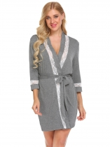 Gray Women Casual Lace Trim Loose Waist Strap Sexy Sleepwear Short Night Robe