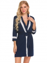 Navy blue Women Casual Lace Trim Loose Waist Strap Sexy Sleepwear Short Night Robe