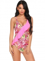 Red Spaghetti Strap Sleeveless Padded One Piece Swimwear