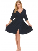 Navy blue Femmes Nursing Half Sleeve V Neck Elastique taille élastique Nightswear Dress