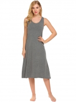Dark gray Femmes sans manches O cou solide Slim Fit doux Nights robe de nuit