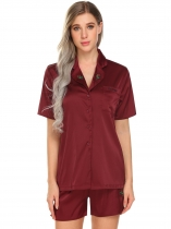 Wine red Women Casual Turn-down Neck Short Sleeve Solid Button Up Loose Shirt Sleep Suits