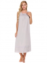 light grey Femmes Vêtements de nuit Square Neck Sleeves Smocked Front Loose chemise