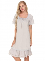 light grey Women Vintage Style Sleepwear Short Sleeve Smocked Front Loose Nightgown