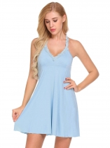 Light blue Women O Neck Sleeveless Back Hole Lace Mini Sleepdress Nightdress