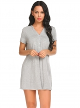 Šedá Women Short Sleeve V-Neck Solid Soft Casual Dress