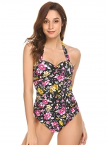 Czarny Women Sexy Halter Padded Backless Floral Open Front One Piece Swimwear