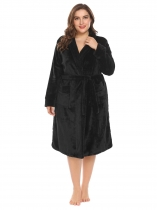 Black Women Soft Warm Plush Fleece Robe Shawl Collar Spa Bathrobe w/ Belt Plus