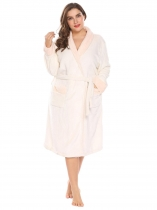 Beige Women Soft Warm Plush Fleece Robe Shawl Collar Spa Bathrobe w/ Belt Plus
