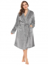 Gray Women Soft Warm Plush Fleece Robe Shawl Collar Spa Bathrobe w/ Belt Plus