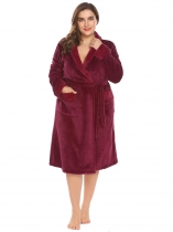 Wine red Women Soft Warm Plush Fleece Robe Shawl Collar Spa Bathrobe w/ Belt Plus
