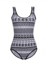 Czarny Women Scoop Neck Padded Backless Print One Piece Swimwear