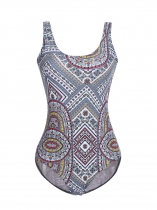 Blue Women Scoop Neck Padded Backless Print One Piece Swimwear