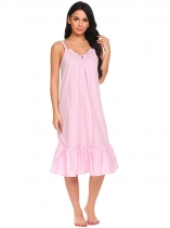 Pink Les femmes v cou spaghetti sangle volants solide robe de sommeil